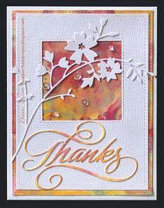 Backporch: Distress Oxide Glaze Technique: Thanks! Tarjetas Stampin Up, Stampin Up Cards, Making Greeting Cards, Greeting Cards Handmade, Cricut, Get Well Cards, Watercolor Cards, Sympathy Cards, Flower Cards