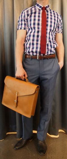 Ted Baker check shirt $165, Without Prejudice blue pant $195, Dibi knit tie $35, Strellson belt $120, Sandqvist brieftcase $375 all from Gotstyle Menswear.