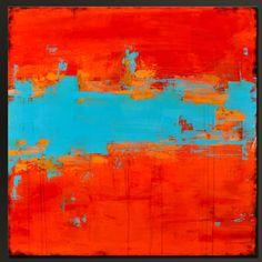 En el Sonoran el sol 2-36 x 36 - Resumen pintura acrílica - gran pared contemporánea arte-grandes