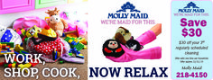 Molly Maid housecleaning service. Save on your regularly scheduled cleaning. Relax while we clean your home.