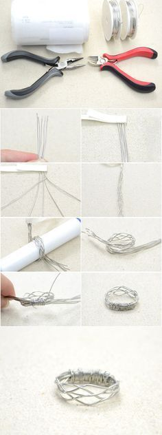 Simple Tutorial on Making a 5-Strand Woven Wire Ring from LC.Pandahall.com #pandahall