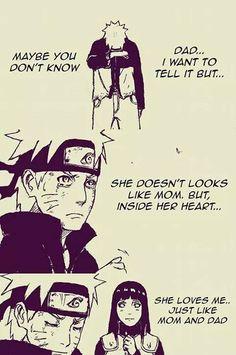 """""""Pai... Eu queria te dizer isso mas... Talvez você não saiba  Ela não se parece com a mamãe. Mas, dentro do seu coração... Ela me ama... Assim como a mamãe e você"""" Que linda essa fanart .A Hinata pode até não ter a mesma personalidade que a Kushina, mas ela é uma garota incrível sim, forte e acima de tudo ela ama o Naruto tão intensamente quanto seus pais. E o melhor de tudo é que o Naruto reconhece isso nela.A Kushina e o Minato certamente aprovariam ela"""