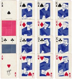"""""""Blue Playing Cards"""" by Piatnik, 1960s"""