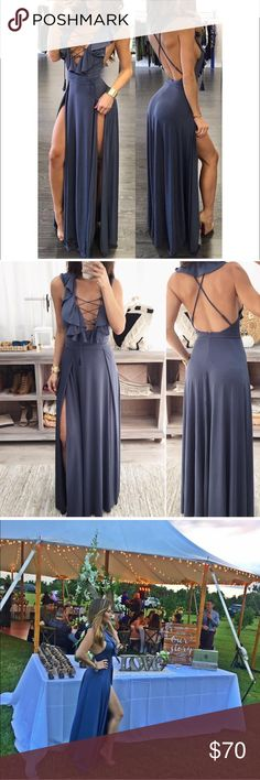 🆕 BEAUTIFUL BLUE MAXI 🆕💎🆕💎🆕 • Long blue dress • Lace tie front • Double slits • Zipper enclosure • Good stretch • 95%Polyester 5% Spandex  Thank you for visiting! Please take a quick minute to read the closet guidelines. I wish you a wonderful shopping experience. ☺️ I ship daily! Dresses Maxi