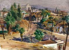 Emil Kosa Jr. - Welcome to California, c. 1940's, California art, original California watercolor art for sale, fine art print for sale, giclee watercolor print - CaliforniaWatercolor.com
