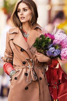 Olivia Palermo Beautiful Belted Trench Coat + Fresh Spring Blooms