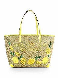 Kate Spade New York Vita Lemoni Aria Woven Raffia Shoulder Bag