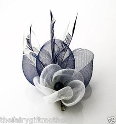 Navy & White Feather & Mesh Fascinator on Clip