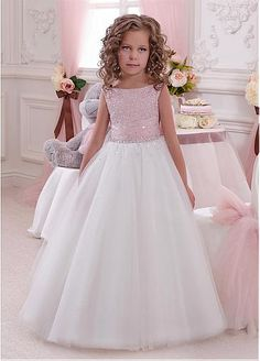 Shining Tulle & Satin Bateau Neckline A-Line Flower Girl Dresses With Beads & Rhinestoes