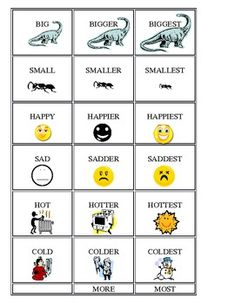 Adjectives, Comparatives, Superlatives by Cappy's Creations Adjective Anchor Chart, Adjective Games, Grammar Anchor Charts, Anchor Charts First Grade, Grammar Games, Teaching Grammar, Teaching Aids, Teaching Writing, Efl Teaching