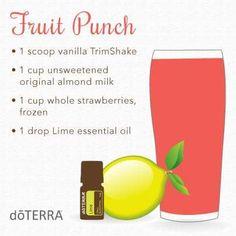 Fruit Punch Protein Smoothie doTERRA vanilla TrimShake almond milk strawberries lime essential oil www.mydoterra.com/essentialenthusiast
