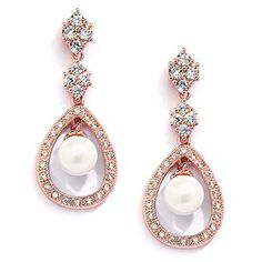 Sparkly Bride Gold Plated Teardrop Cubic Zirconia Wedding Fashion Clip On Earrings 1.38 inches