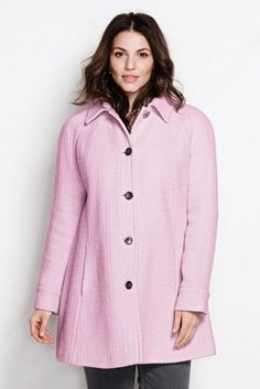 Women's Plus Size Basketweave Swing Coat from Lands' End  -  button front jacket, coat, pink, classic, conservative, practical.  want.   lj