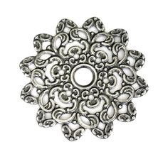 3 beautifully detailed VERY large focal components, antiqued silver flower filigree. They measure 47x47mm (about 1 7/8) and are one-sided.