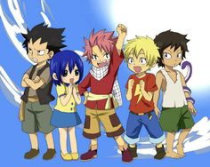 Awwww lookie it's all the dragon slayers when they were lil' <3 <3 <3 They're so adorable!!!!