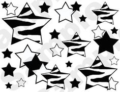 ZEBRA STARS wallpaper wall border decals. Available in  rainbow, hot pink, purple, and black. #decampstudios