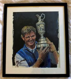Ernie Els with Open Championship Trophy. Acrylic Sketch by Mark Robinson. For sale. Framed #golf #art #dubai #racetodubai #mydubai Note: Visit the Mark Robinson website for more details for available stock, commissions, exhibitions or tournament enquiries - www.robinsongolfart.com Ernie Els, Golf Art, European Tour, Exhibitions, Dubai, Sketch, Paintings, Baseball Cards, Website