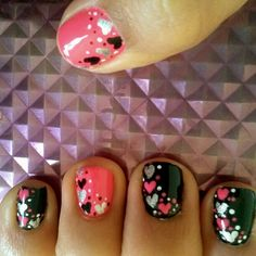 Valentine nail art...hearts hearts hot pink silver black and white