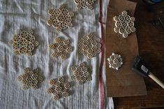 DIY Macaroni Snowflakes