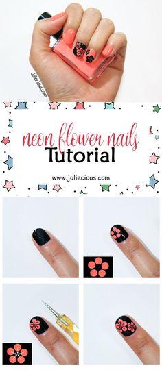 Neon flower nails tutorial. Summer nails. Flower nail art design. Easy nail art for beginner. Nail design for beginner.