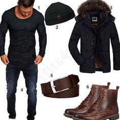 Herren-Outfit mit anthrazitem Amaci&Sons Longsleeve, Urban Beanie, warmer Winterjacke, Merish Stretch Jeans, Ledergürtel von Macosta und Clarks Stiefeln.