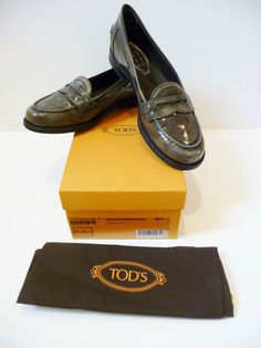 "Tod's NIB ""Ivy Mocassino"" Grey Patent Loafers Shoes Sz 9.5 /39.5B Retail $550."