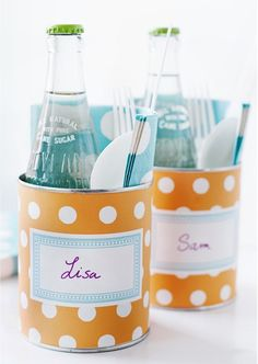 buffet cans!  good idea for an informal wedding , cutlery, napkin water & also doubles up as placename.
