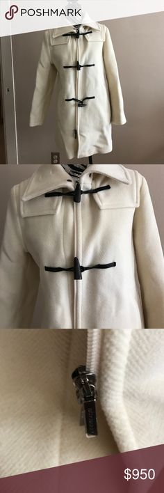 Burberry London Wool Toggle Coat In excellent condition! Timeless wool coat in size 8. Color is cream white. Burberry Jackets & Coats
