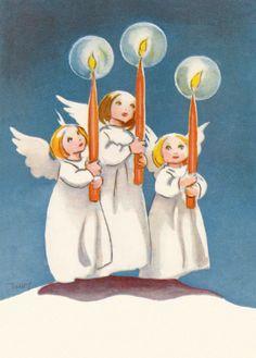 MARTTA WENDELIN - Joulukortti, Kolme enkeliä