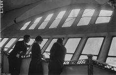 The airship catered for passengers - who often watched the world go by through large panoramic windows