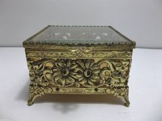 Vintage Stylebuilt GOLD Ormolu JEWELRY CASKET Hollywood Regency Trinket Box