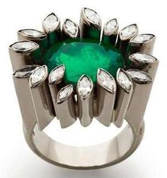 2014 white gold and emerald ring set with Marquise-cut diamonds, £POA, Jojo Grima for Grima