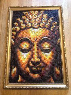 Hama/perler bead buddha portrait picture, framed in gold frame