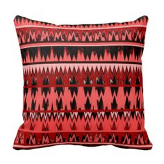 Tribal Aztec Coral and Black design Pillow