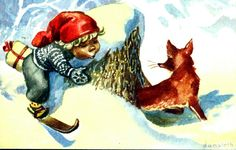 Christmas Cards, Christmas Postcards, Gnomes, Norway, Rooster, Moose Art, Painting, Animals, Christmas E Cards