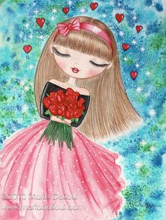 Girl with roses cute watercolor art print. Big eye cute girl illustration. Romantic in love girl painting. Valentine's Day whimsical art