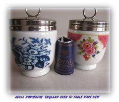 2 Royal Worcester large Egg Coddlers Floral Delft Blue Pink Floral England #RoyalWorcester