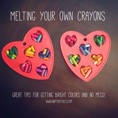 Great tips for melting your own crayons to get bright colors.