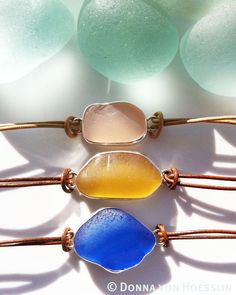 My new sea glass bracelets. These pieces can also be worn as a choker.