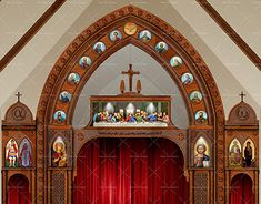 Saint Mary & Saint Moses Coptic Orthodox Church, Buffalo, New York, USAUsing AutoCAD and Photoshop for Visualizing the interior Design and wall Cladding using different Wood colors. Church Interior Design, Interior Walls, Ny Usa, Wall Cladding, Wood Colors, Autocad, Buffalo, Saints, Mary
