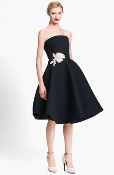 #Black #Floral #Appliqué #Strapless #Dress