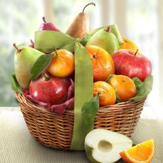 """This festive basket of 2 Comice Pears, a Red Pear, 2 Braeburn Apples, a fruit in season, plus a Navel Orange and three Mandarins for a """"just right"""" gift! Fruit Gifts, Food Gifts, Gourmet Gifts, Gourmet Recipes, Diabetic Recipes, Best Gift Baskets, Basket Gift, Gifts For Elderly, Red Pear"""
