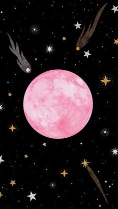 Strawberry Moon Mini Art Print by Carly Watts - Without Stand - x Pink Moon Wallpaper, Galaxy Wallpaper, Cellphone Wallpaper, Wallpaper Backgrounds, Iphone Wallpaper, Pink And Black Wallpaper, Tumblr Wallpaper, Art And Illustration, Roses Tumblr