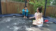 50 ideas for some fun with your new trampoline :) I love the chalk idea!