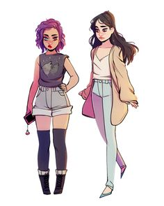 my witch ocs – madge and emi!! they practice opposite kinds of magic but they're the best of friends. they also tend to get into quite a bit of magical trouble……(also on instagram) << credit to the artist but I love the short one!