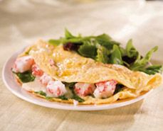 Have breakfast for dinner with this Crab, Spinach and Mozzarella Omelet!