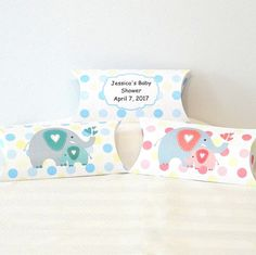 10 Personalized Baby shower favor boxes, Elephant Baby shower favor bag, Elephant baby shower pillow boxes, Elephant theme party favor boxes