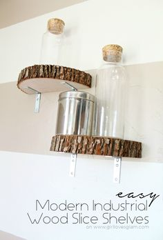 This DIY wood slice shelf is so easy to make. You can use a wood slice from a craft store or a cut from a removed landscaping tree, provided you clean and treat it first