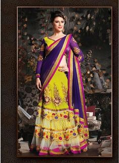 Exquisite Deep Purple & Yellow Embroidered #Saree