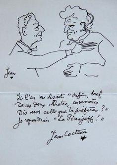 Jean #COCTEAU (1889-1963) Très intéressant dessin à l'encre figurant une accolade entre l'écrivain Joseph Kessel et Jean Cocteau (?). Il est signé Jean, accompagné d'une étoile et enrichi d'un beau quatrain signé Jean Cocteau, étoile. « Si l'on me disait » enfin, Bref De ces deux illustre commères Dis-moi celle que tu préfères? Je répondrais « La Pinajeff! » Jean Cocteau Vendu aux #encheres le 18/06/14 par Kahn-Dumousset